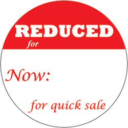 "1"" Self Adhesive Pre-Printed ""REDUCED for Now:       for quick sale"" Labels (500 labels)"