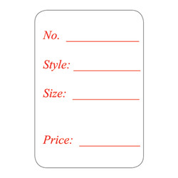"1 1/8"" x 1 5/8""H Self Adhesive Pre-Printed ""No. Style: Size: Price:"" Labels (500 labels)"