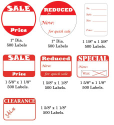 "1 5/8"" x 1 1/8""H Self Adhesive Pre-Printed ""Reduced Now: for quick sale"" Labels (500 labels)"