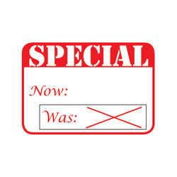 "1 5/8"" x 1 1/8""H Self Adhesive Pre-Printed ""SPECIAL Now:   Was: X"" Labels (500 labels)"