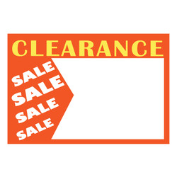 "Small Paper ""Clearance Sale"" Store Message Sign (50Pcs/Pack)"