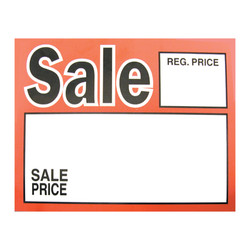 "Large Paper ""Sale Reg.Price  Sale Price"" Store Message Signs (50Pcs/Pack)- 7""W x 5 1/2""L"
