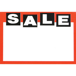 "Large Paper ""SALE"" Store Message Signs (50Pcs/Pack)- 7""W x 5 1/2""L"