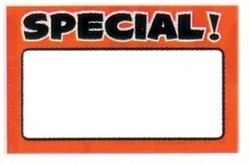 "Large Paper ""SPECIAL!"" Store Message Signs (50Pcs/Pack)- 7""W x 5 1/2""L"