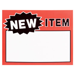 "Large Paper ""NEW ITEM"" Store Message Signs (50Pcs/Pack)- 7""W x 5 1/2""L"