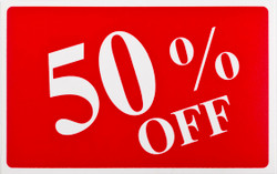 "Plastic ""50% OFF"" Store Message Sign 11""W x 7""L"