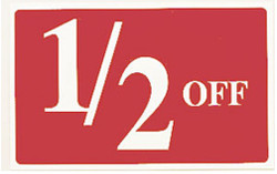 "Plastic ""1/2 OFF"" Store Message Sign 11""W x 7""L"