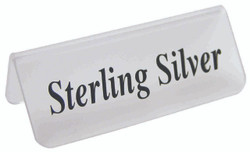 "Frosted Acrylic Black ""Sterling Silver"" Print Showcase/Showroom Sign - 3"" x 1 1/4""H"