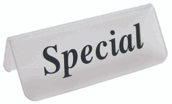 "Frosted Acrylic Black ""Special"" Print Showcase/Showroom Sign - 3"" x 1 1/4""H"