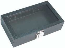 "Small Clear Glass Top Lid with Metal Claps Display Tray - 8 1/8"" x 4 3/4"" x 2""H"