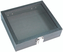 "Medium Clear Glass Top Lid with Metal Claps Display Tray - 8 1/4"" x 7 1/4"" x 2""H"
