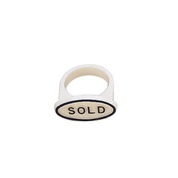 """White """"Sold"""" Ring Markers for Ring Foam (50Pcs)"""