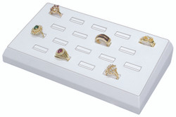 White Faux Leather 18-Slot Ring Tray Jewelry Display