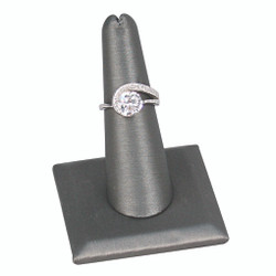 Single Tall Steel Grey Faux Leather Ring Stand with Semi-Circle Base