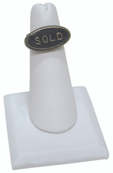 White Faux Leather Single Ring Jewelry Stand with Square Base