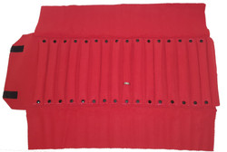 "Black/Red Deluxe Velvet Jewelry Rolls - 16 Ring Tubes - 23 1/2"" x 9 1/4"""