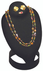 Large Black Combination Flocked Fold-able Necklace Display