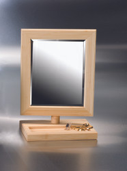 Natural Wood Frame Mirror with small tray on Base.
