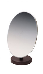 Dark Walnut Faux Wooden Oval Glass Mirror