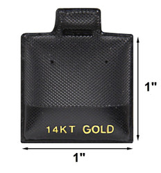 """14 KT. Gold"" Printed Black Vinyl Puff Pads - 1"" x 1"""