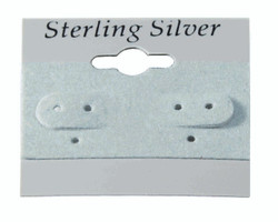 """Sterling Silver"" Black Font Printed Grey Hanging Earring Cards - 1.5"" x 1.5"""