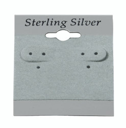"""Sterling Silver"" Black Font Printed Grey Hanging Earring Cards - 1.5"" x 2"""