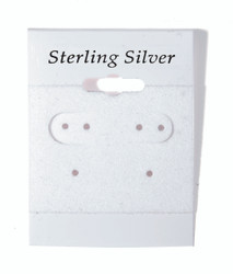 """Sterling Silver"" Black Font Printed White Hanging Earring Cards - 1.5"" x 2"""