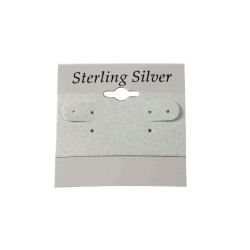 """Sterling Silver"" Black Font Printed Grey Hanging Earring Cards - 2"" x 2"""