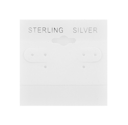 """""""Sterling Silver"""" Silver Font Printed White Hanging Earring Cards - 2"""" x 2"""""""