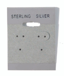 """Sterling Silver"" Silver Font Printed Grey Hanging Earring Cards - 1 1/2"" x 2"""