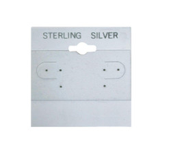 """Sterling Silver"" Silver Font Printed Grey Hanging Earring Cards - 1 1/2"" x 1 1/2"""
