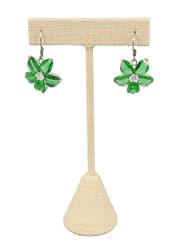 """Beige Linen Single Earring T-Shape 4 3/4""""H Display"""