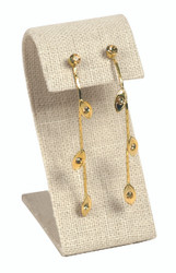 "Beige Linen Single Tall Slim Curved Earring Display 3 1/2""H"