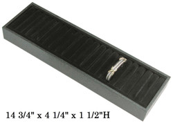 Black Faux Velvet 18 Slot Tray for Bangles/Rings