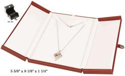 Large Black/Black Necklace Snap-Tab Leatherette Box