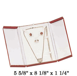 Red Combination Set Snap-Tab Leatherette Box