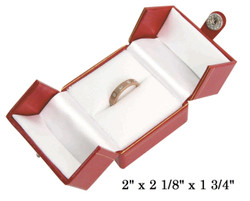 Red Large Ring Snap-Tab Leatherette Box