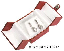 Red Earring Snap-Tab Leatherette Box