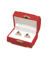 Red Double Ring Flocked Velvet Clasped Box