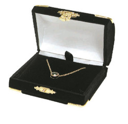 Black Large Necklace Flocked Velvet Clasped Box
