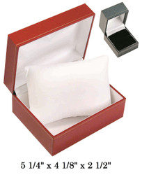 Black w/Pillow White satin interior Black Leatherette Watch Box