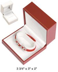 White Bangle/Watch w/White Satin interior Classic Leatherette Box