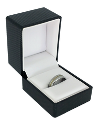 Exquisite Textured Black Ring Gift Box with Pre-tied Ribbon