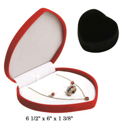 Soft Flocked Black Velour Large Heart Necklace Gift Box