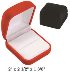 Soft Flocked Black Velour Large Ring Gift Box