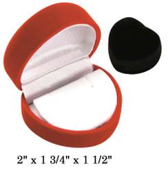 Soft Flocked Black Velour Heart Earring Gift Box