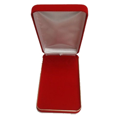 Classic Red Velvet Necklace Gift Box with an Elegant Brass Trim