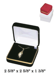 Classic Red Velvet Metal Large Pendant/Earring Gift Box with Brass Trim
