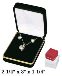 Classic Red Velvet Metal Pendant/Earring Gift Box with Goldtone Brass Trim
