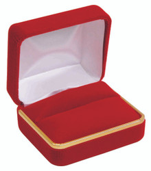 Classic Red Velvet Double Ring Gift Box with Brass Trim